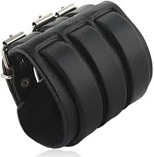 Ever Faith 3 Layer Wide Belt Genuine <b>Leather</b> Men <b>Wristband</b> Black ...