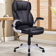 way high back executive office chair leather swivel desk task computer black memory foam and white big tall