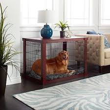 Wood Dog Crate Side Table Pet Cage Durable Livingroom