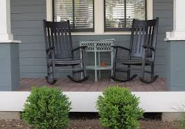 painted black outdoor rocking chairs
