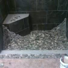 river rock shower floor pebble with porcelain tile walls in ceramic cleaner cleaning