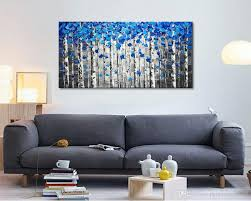 >2018 large abstract forest wall art hand painted modern blue tree  2018 large abstract forest wall art hand painted modern blue tree palette knife oil painting on canvas from paintingart2017 42 52 dhgate com