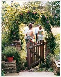 garden arch with gate archway fence flowers picture