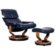 dark blue leather recliner chair light chairs swivel gel glider