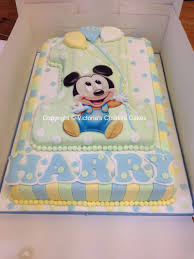 Baby Mickey Mouse Number 1 Large Birthday Cake Yazlynn Baby