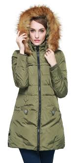 women s down jacket with removable faux fur trim hood yrf093a