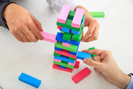Game Played With Wooden Blocks Businessmen playing wooden blocks game Stock Photo © gioiak100 52