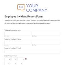 Employee Incident Report Template Beauteous Near Miss Report Form Template Or Hr Incident Report Goal