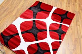 modern area rug red black white