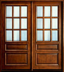 custom solid double wood entry door design with frosted glass panels for rustic modern house ideas