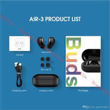 Satın Al Tomurcuklar Hava 3 Mini Bluetooth Kulaklık Kulaklık Twins Kulaklık  Kablosuz Stereo İş Spor Müzik Kutusu Şarj Ile Earbuds Çağrılması, TL66.54