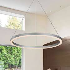 Modern pendent lighting Dining Table Tania Collection 36watt Silver Integrated Led Adjustable Hanging Modern Circular Chandelier 24 In The Home Depot Modern Globe Pendant Lights Lighting The Home Depot