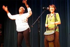 "Rochelle Hooks and Karla Huntsman performing a Nigerian welcome song  called, ""Funga Alafia."" (Brett Hendricks)   Las Vegas Review-Journal"