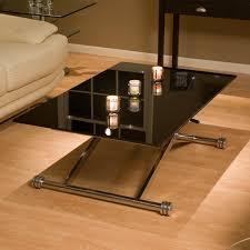 Adjustable Height Rectangle Black Glass Coffee Table On Birch Hardwood  Floor, Delectable Adjustable Height Coffee
