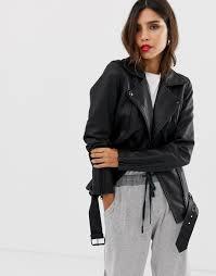 y a s trille lambs leather biker jacket black