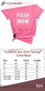 Round Neck T Shirt Size Chart Posh Mom Crew Neck Tee Shirt Tee Is A Unisex Fit Please