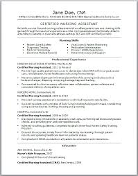 Cna Duties Resume Sample Sample Cna Resume Jane Doe