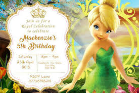 Tinkerbell Invitation Personalised Tinker Bell Fairy Tinkerbell Birthday Party