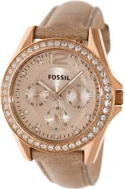 fossil women s riley es3363 beige leather quartz watch with beige dial fossil ca watches