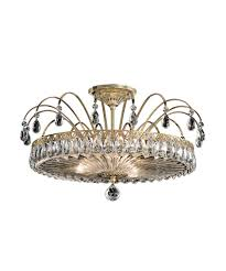 semi flush mount lighting. Shown In Aurelia Finish And Clear Heritage Handcut Crystal Semi Flush Mount Lighting
