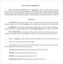Investment Agreement Templates Company Investor Agreement Investors Agreement Template 10