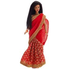 barbie doll. Red Saree Dressed Indian Barbie Doll