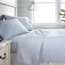 4 piece light blue 300 thread count cotton california king bed sheet set
