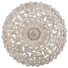 mirror wall decor circle panel: carved whitewash round wall decor   carved whitewash round wall decor