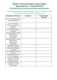 контрольный лист оценивания презентации контрольный лист оценивания презентации