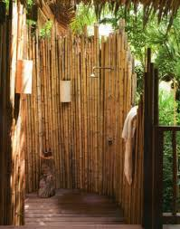 Bamboo Privacy Screen For Modern Outdoor Shower Ideas Using Rustic Trends  And Inspirations Wooden
