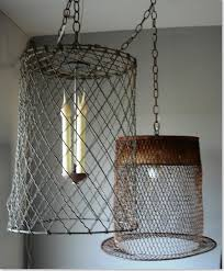 ... Lovable Wire Basket Chandelier Wire Basket Lighting Line With Burlap To  Soften Dining Room ...