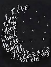 i love you to the moon back nursery hand lettered wall