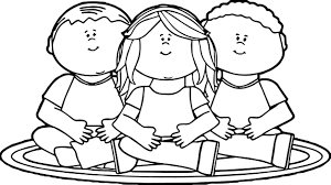 rug clipart black and white. kids sitting on school rug coloring page clipart black and white