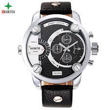 online get cheap oversized watches aliexpress com alibaba group men sports watch quartz military watches men luxury brand leather oversize dual time clock men 30m