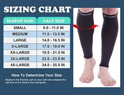 Calf Size Chart Doc Miller Premium Calf Compression Sleeve 1 Pair 15 20 Mmhg