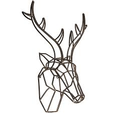 bronze deer head metal wall decor