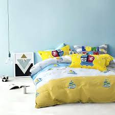 yellow duvet covers double fashion style boats print yellow linens bedding sets cotton twin single double