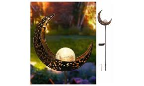 garden solar lights pathway outdoor moon le glass globe stake
