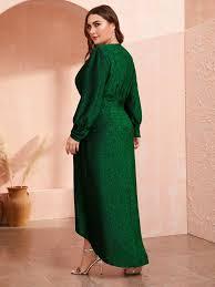 <b>Plus Lantern</b> Sleeve Wrap Dip Hem Glitter Dress | SHEIN USA