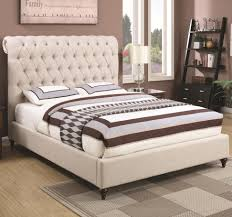 Coaster Devon Queen Upholstered Bed in Beige Fabric Value City