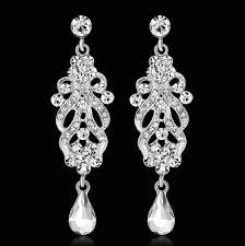 elegant crystal chandelier wedding earrings for bridal rhinestone fashion party bridal wedding jewelry silver color vintage wedding jewellery wedding