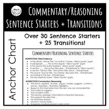 Evidence Commentary Reasoning Sentence Starters And Transitions Anchor Chart