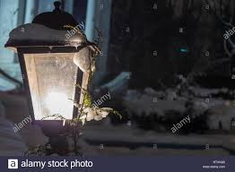 Yellow Light Pc Lantern With Snow And A Branch Of A Christmas Tree Glowing
