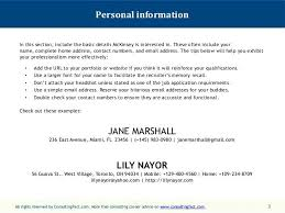 Example Of Personal Resume Personal Information Personal Summary