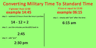 Hours To Minutes Chart Convert Military Time To Standard And Vice Verse Ontheclock