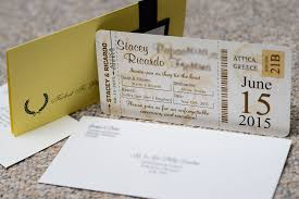 Brown Boarding Pass Wedding Invitations To Golden Coast In Attica