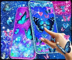 Blue glitter butterflies live wallpaper ...