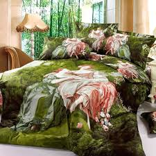 forest bedding style oil painting noblewoman and princess green forest bedding cotton forest green bedding set