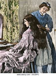 pioneer woman 1800s hair. chambermaid arranging hair of a young woman 1800s - stock image pioneer