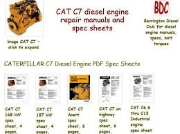 Caterpillar diesel engine specs, bolt torques and manuals